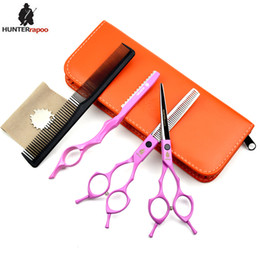$enCountryForm.capitalKeyWord Australia - HUNTERrapoo HT9170 5.5 6 7inch professional hair cutting and thinning scissors set for barber hairdressing shears PINK7