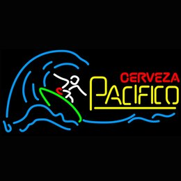 Neon Shop Open Signs UK - Cerveza Pacifico Surfer Wave Neon Sign Light Sign Bar open Dropshipping Decor Shop Crafts Led