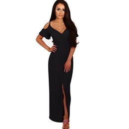 hot pink off shoulder dress NZ - summer-dress Ladies Women V Neck off the Shoulder Strapless Solid Split Long Dresses in Black Blue and Hot Pink High Quality