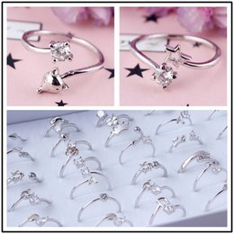 Discount hottest girls ring finger - 2019 New hot sale mixed styles zircon ring platinum gold color rings adjustaeble size girls finger jewelry