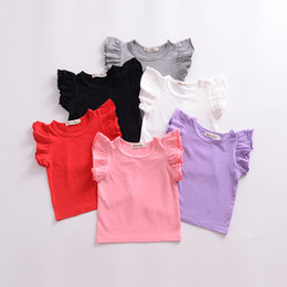 Wholesale cotton candy tee shirt for sale – custom Kids Candy colors T shirts children Girls Tops ruffle sleeve cotton Tees summer Kids Clothing colors C5710