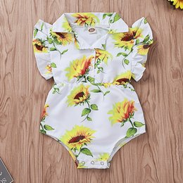 $enCountryForm.capitalKeyWord NZ - Baby Rompers Girls Jumpsuits Sunflower Printed Fly Sleeve Triangle Pants Bodysuit One Piece Newborn Infant Kids Clothing Q337