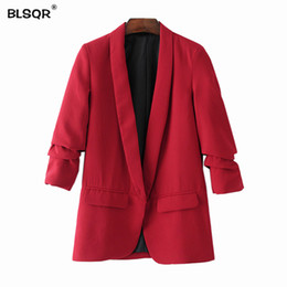 long formal suit jacket for women Canada - BLSQR Red Chiffon Formal Blazer Women's Business Suit Slim Long-Sleeve Jacket Suits Office Suit For Women Clothes Y190830