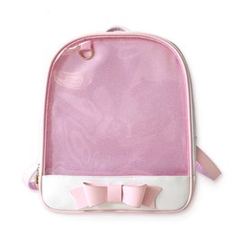 Large rucksack backpacks for girLs online shopping - Cute Clear Transparent Bow Backpack Ita Bag Harajuku School Bags For Teenage Girls Rucksack Kids Kawaii Backpack Itabag