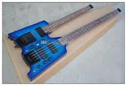 double neck guitar black Canada - Double Neck 4 6 Strings Headless Blue Body Electric Guitar  Bass With Black Hardware ,Rosewood Fingerboard ,Can Be Customized