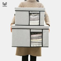 $enCountryForm.capitalKeyWord Australia - Luluhut Oxford Clothes Box Foldable Underwear Quilt Storage Container With Perspective Window Wardrobe Organizer J190713