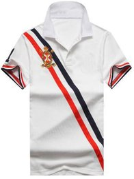 Big Pony Polo NZ - US Fashion Men Striped Polo Shirt With Big Pony High Quality Cotton Leisure Polos Golf Tennis Tee Shirts Black White