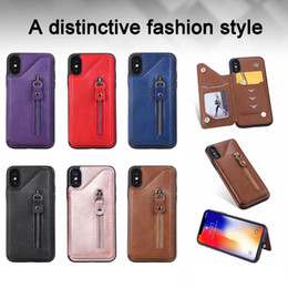 $enCountryForm.capitalKeyWord Australia - Card Pocket For Iphone XS MAX XR X 8 7 6 Samsung S10 Wallet Leather Flip Vertical Zipper Coin Money ID Card Slot Box Phone Back Case Cover