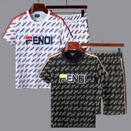 18428d68823 2019 Men's Camouflage Tracksuit Summer Slim Short T-Shirt +Shorts Pants Suit  Sportswear chandal hombre track suit trainingspak mannen