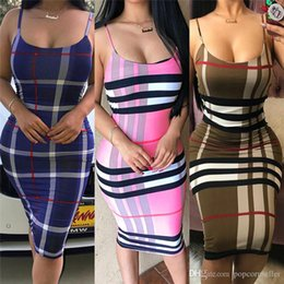 dresses apparel Australia - Womens Fashion Dresses European and American Sexy Halter Belt Stripe Slim Body Wrap Hip Skirt Dress Womens Apparel
