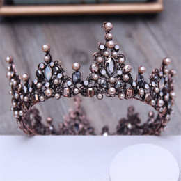 $enCountryForm.capitalKeyWord UK - Vintage Crystal Black Round Baroque Tiaras And Crowns Headdress For Women Or Men Bridal Wedding Head Jewelry Accessories J190701