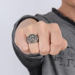 $enCountryForm.capitalKeyWord NZ - Mens Vintage Rings Stainless Steel Lion Head Rings in Silver color Metal Rock Punk Style Gothic Biker Men Jewelry Aneis Anillos