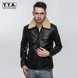 $enCountryForm.capitalKeyWord Australia - Mens Luxury 100% Sheepskin Genuine Leather Jacket Pilot Slim Fit Fur Collar Aviator Coat Motorcycle Male Outwear Leather Jackets