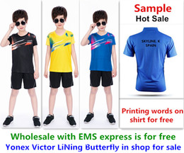 Ems Clothes Australia - Wholesale EMS for free, Text printing for free, new kid children badminton shirt clothes table tennis T sport shirt clothes 125