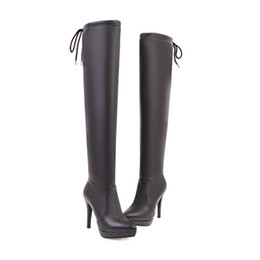 Sexy Winter White Ladies Boot NZ - 2019 Sexy Ladies Over the Knee Boots Women High Heels Shoes Winter Pointed toe Thigh High Female Footwear Lace up 32-43
