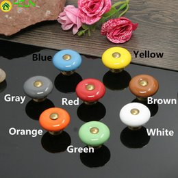 children handles knobs UK - Dia 25mm 32mm Colorful Ceramic Children Room Drawer Shoe Cabinet Knob Red Blue White Orange Green Brown Kitchen Cabinet Handle