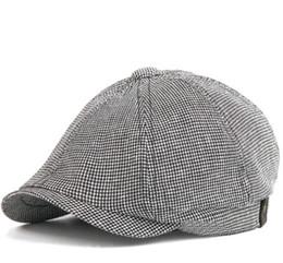 d720929f1f627 Mens Gatsby Cap Australia - Grid Pattern Cotton Newsboy Cap Mens Womens  Octangle Cap Gatsby Hat