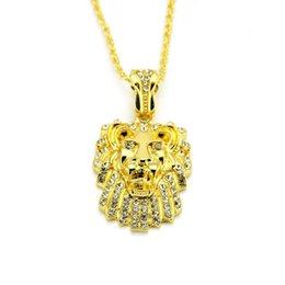 Mens Gold Lion Pendant Australia - Mens' Hip Hop Jewelry Iced Out Gold Plated Fashion Bling Bling Lion Head Pendant Free shipping
