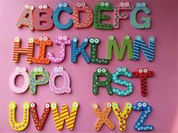 Kids Alphabet Magnets Australia - Magnet Education Learning Toys Wooden 26 Alphabet Decor Cartoon Words Wood Crafts Home Refrigerator Decorations Kids Children Gifts K0340
