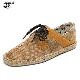 94537395b Hemp Soft Men Casual Shoes Lace-Up Men Shoes Breathable Male Espadrille  Fisherman Flats fgy #301682