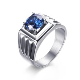 stainless steel ring blue stone Canada - Exclusive Wedding Rings for Women Blue CZ Zirconia Stone Ring Jewelry