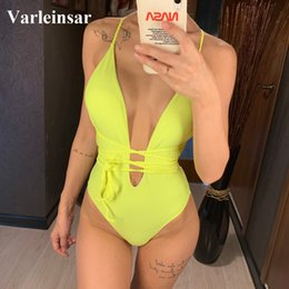 $enCountryForm.capitalKeyWord Australia - 2019 Women Swimwear Diy Long Strap Wrap Around One Piece Swimsuit Female Bather Deep V Neck Bathing Suit Swim Bodysuit V1064y Y19072601