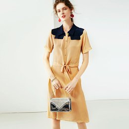 $enCountryForm.capitalKeyWord NZ - 100% Silk Women's Twinsets Turn Down Collar Short Sleeves Bow Detailing Shirts with Skirts Two Piece Dresses Sets