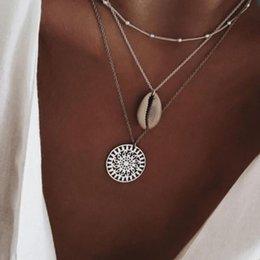 $enCountryForm.capitalKeyWord Australia - Boho Multi Layer Chain Pendant Choker Necklace Fashion Women Silver plated Statement Female necklace Jewelry