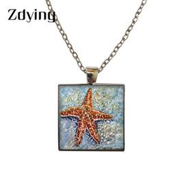 $enCountryForm.capitalKeyWord Australia - ZDYING Square Shape starfish Pendant Necklace Glass starfish Photo Cabochon Necklaces For Woman Men Choker DIY Jewelry HX002