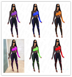 ladies sexy tracksuits Australia - Women Sexy Gauze Tracksuit Summer Sportswear Patchwork Sports Bike Tops+ Legging Pants 2 Pieces Sets Ladies Casual Pullover Sportswear D4205