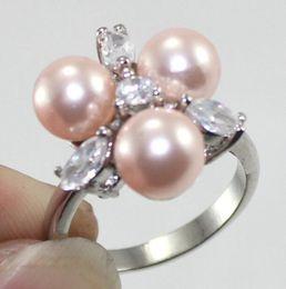 $enCountryForm.capitalKeyWord Australia - Jewelryr Pearl Ring New Design !5 Clour Free Shipping 8MM Pink  Black Multi  Blue South Sea Shell Pearl Ring Free Shipping