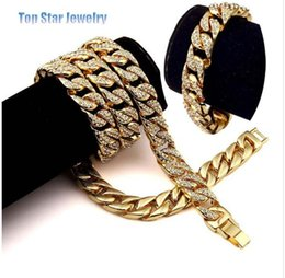 $enCountryForm.capitalKeyWord Australia - Hip Hop ICED OUT Jewelry Sets 24K Gold Plated Full Diamond Necklace & Bracelet Men MIAMI CUBAN LINK CHAIN Bling Bling Accessory