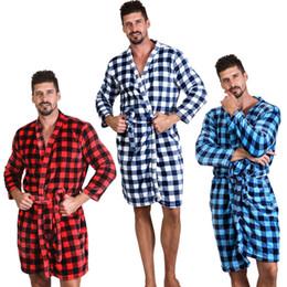 7 Renk Unisex Loose Buffalo Ekose Bornoz Yumuşak Fanila Önlük Ekose Uzun Kollu Gecelik Sıcak Kış Elbiseler Ev Giyim CCA11650-A 10pcs