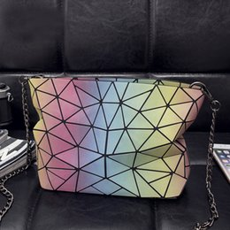 gate style Australia - Angel2019 Noctilucent Geometry Rainbow Split Joint Chain East Gate Woman Package Single Shoulder Satchel