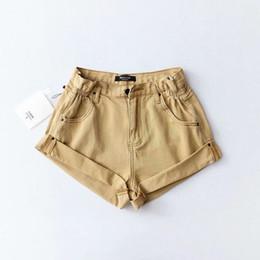 $enCountryForm.capitalKeyWord Australia - Black Vintage Khaki Cotton Denim Shorts Women Elastic High Waist Shorts Summer Casual Hot Slim Jean Shorts Clothing 2019