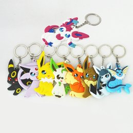 $enCountryForm.capitalKeyWord Australia - New Fashion Eevee Monsters Cartoon PVC Keychain monster Mini Figure pendants charms collection toy Key Ring