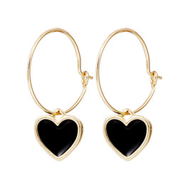 Chinese  Heart Earrings Small Hoop Earrings with Charm for Women Red Black Minimalist Jewelry Pendiente Mujer 2019 Golden Round manufacturers