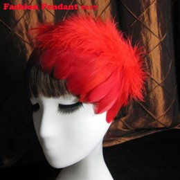 Red Hair Clips Wedding Australia - 2019 New Fashion Elegant Bride Feather headband for Wedding Party Hair jewelry Hair Ornaments wedding hair clips