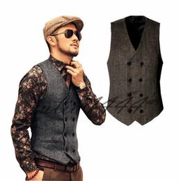 $enCountryForm.capitalKeyWord Australia - Country Farm Wedding Brown Wool Herringbone Tweed Vests Custom Made Groom Vest Slim Fit Mens Suit Vest Prom Wedding Waistcoat Plus Size