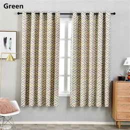modern grommet curtains Australia - Printed Geometric Wave blackout Short Curtain For Living Room Yellow Green Modern bedroom kitchen Drapes