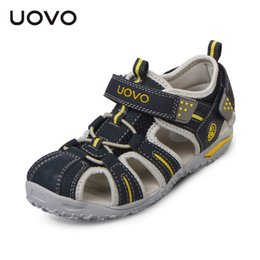 closed toe sandals UK - Uovo Brand 2019 Summer Beach Sandals Kids Closed Toe Toddler Sandals Children Fashion Designer Shoes For Boys And Girls 24#-38# Y19051303