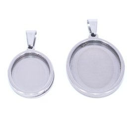 25mm cabochon pendant Australia - stainless steel cabochon pendant settings base 13*18mm 18*25mm oval diy pendant setting bezel trays for pendant jewelry making