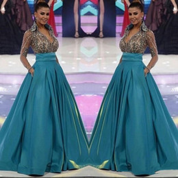 Miss world sexy online shopping - 2019 Miss World Long Sleeve Evening Dresses Formal Sheer V Neck Beading Pageant Dress with Pockets Women Formal Wear Prom Dress BC1219