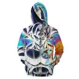 dropship sweatshirt Canada - Dreamy Goku 3D Zip Hoodie Men Zipper Hoody Dragon Ball Groot Tracksuit Anime Sweatshirt Saiyan Coat Pullover DropShip WY086