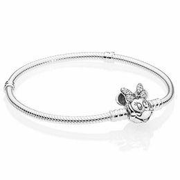 $enCountryForm.capitalKeyWord Australia - Original Shimmering Portrait Clasp Snake Chain Bracelet Bangle Fit 925 Sterling Silver Bead Charm DIY Europe Jewelry
