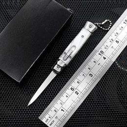New 4.75 Inch Mini Automatic Knife Mirror Blade 3 Colors Resin Handle Key Scri le dao knife outdoor edc multi-function cutter from bill deshivs leverletto suppliers