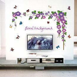 $enCountryForm.capitalKeyWord Australia - purple morning glory vines flowers wall stickers home decor living room tv wall background decoration decals