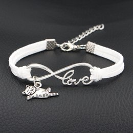 Vintage Cat Plates NZ - 2018 New Fashion vintage sweet Infinity Love Cat Sign Pendant gift aesthetic bracelets & bangles white leather suede jewelry for women men