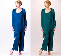 $enCountryForm.capitalKeyWord Australia - Newest Chiffon Popular 3 Piece Turquoise Mother Of The Bride Square Long Sleeve Jackets Mother Of The Bridal Pant Suits SH4030