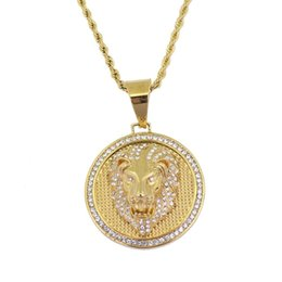 $enCountryForm.capitalKeyWord UK - hip hop lion head diamonds pendant necklaces for men western animal luxury necklace Stainless steel Cuban chain round dog tag jewelry